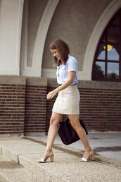 sequins & stripes,shirt,skirt,belt,shoes,jewels,bag