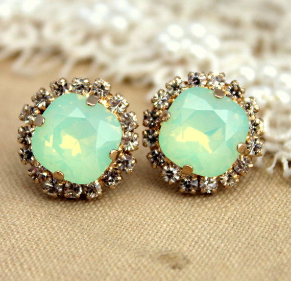 Opal Mint green sea foam Crystal stud Petite vintage by iloniti