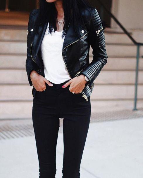 jacket black lether jacket black