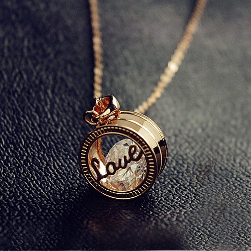 Lovely Exquisite Cutout Love Letter Ring Pendant Cubic Zirconia Alloy 18K Gold Plated Women's Necklace