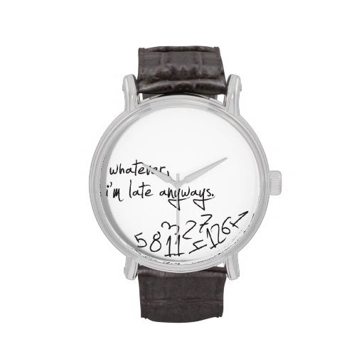 whatever, I'm late anyways - modern black & white Wrist Watch from Zazzle.com