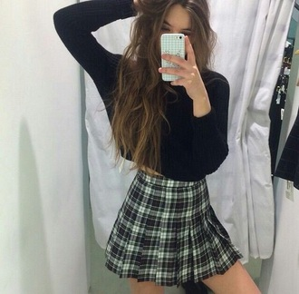 skirt plaid flannel green grunge punk crop tops black