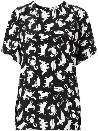 blouse print black top