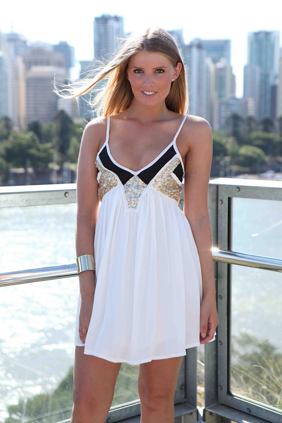White Sequin Dress - White & Black Sequin Embellished   UsTrendy