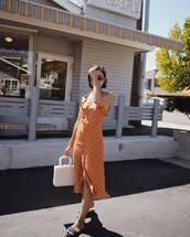 dress,orange dress,bag,white bag,shoes