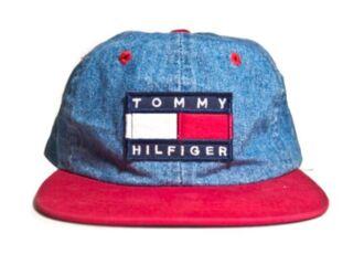 hat denim tommy hilfiger rare vintage old cop blue mens cap