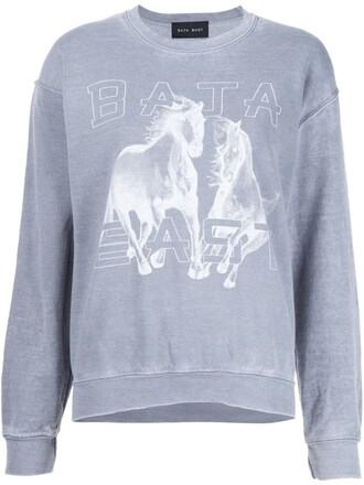 sweatshirt horse print grey sweater