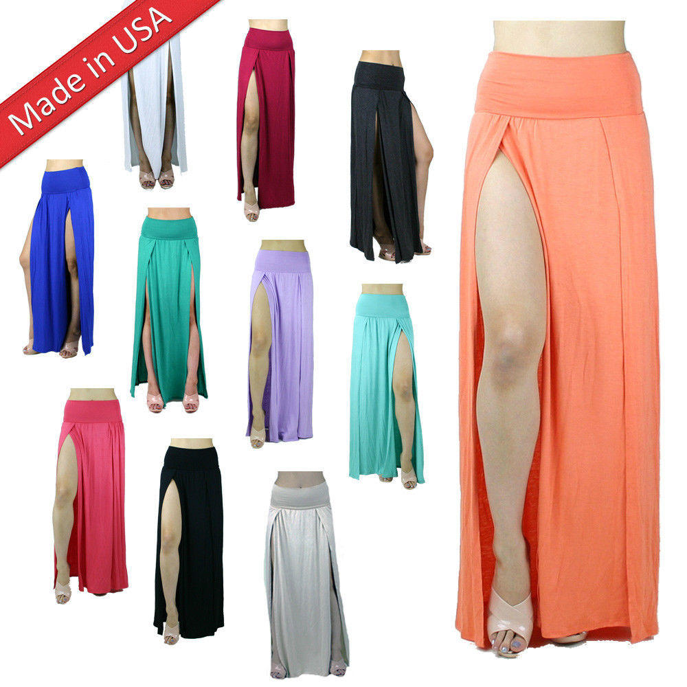Double Slit High Banded Waist Stretch Long Full Length Two Split Leg Maxi Skirt