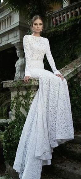 long sleeve dress white dress wedding dress beautiful dress long