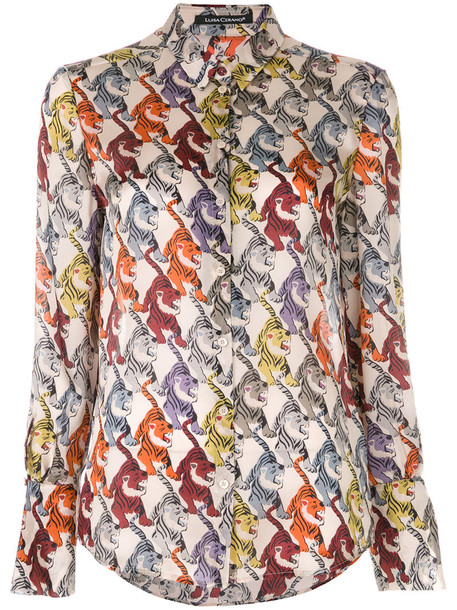 Luisa Cerano - tiger print shirt - women - Silk - 42, Nude/Neutrals, Silk