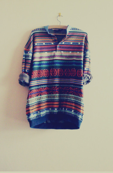 large shirt clothes aztec sweater oversized sweater vintage stripes casual cool comfy blouse colorful patterns tumblr hipster high low 3/4 sleeves colorful love tribal pattern rolled sleeves fall sweater fall outfit pattern fall patterned aztec sweater cozy cozy sweater t-shirt colors
