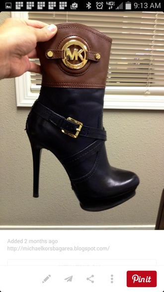 shoes michael kors shoes heels black brown buckle