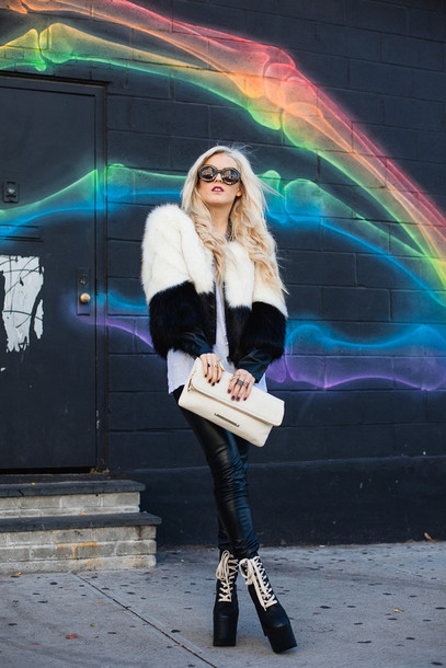i hate blonde blogger soft grunge leather pants clutch platform shoes winter outfits winter coat black and white round sunglasses faux fur jacket fur shoes bag sunglasses coat jacket