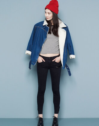 jacket oversized jeansjacket denim wool coat faux shearling
