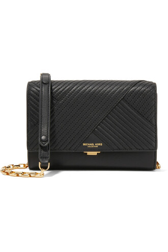 quilted bag shoulder bag leather black
