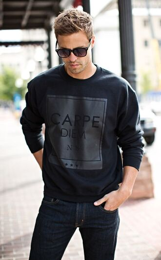 sweater crewneck guys black carpediem