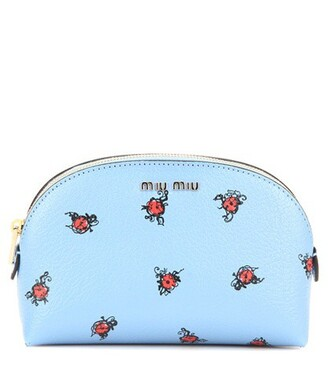 pouch leather blue bag