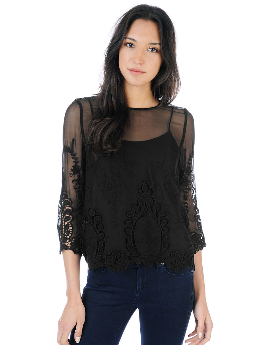 Deidra Embroidered Lace Top | Dolce Vita Official Store