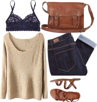 underwear bra lace navy blue bralette sweater tan jeans denim leather bag purse cross body crossbody bag sandals strappy shoes black top creamy light brown oversized sweater cream beige