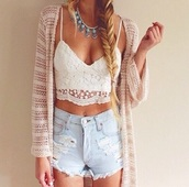 high waisted,boho,necklace,jewels,lace up,beige,cardigan,knit,crochet,cropped,summer outfits,acid wash,ripped,denim shorts,denim jacket,knitted cardigan,crop tops,white t-shirt,white crop tops,streetwear,shirt