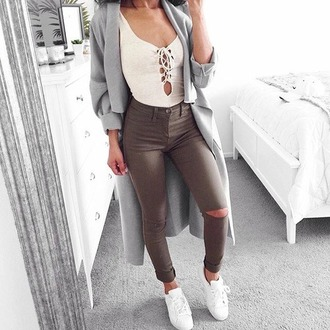 jacket outfit popular top jeans green top white khaki ripped jeans casual dressy adidas adidas superstars coat grey sassy blue formal spring winter outfits hot grey coat waterfall coat long coat