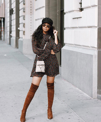 shoes tumblr boots suede boots suede over the knee boots over the knee dress mini dress long sleeves long sleeve dress sunglasses mini bag