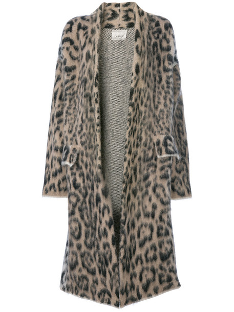 coat leopard print coat women nude print wool leopard print