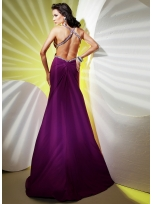 Buy Tempting Brugundy Sheath/Column Straps Floor Length Elastic Woven Satin Prom Dress  under 200-SinoAnt.com