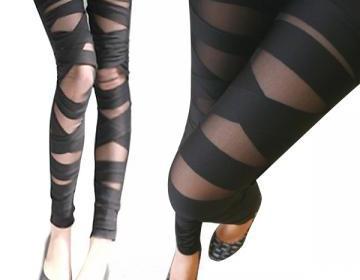 Sexy leggings straps mesh lace blac..