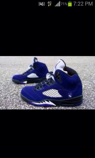 shoes bluish purple white jordan's 5's retro jordans air jordan 5