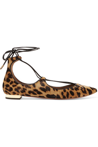 hair flats print leopard print shoes