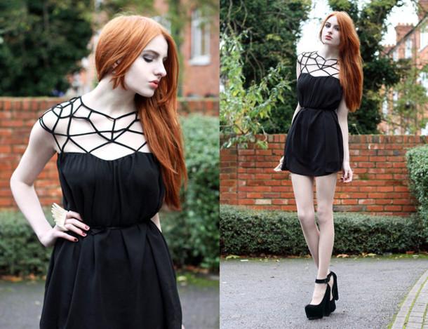 1c3a31781dc4 dress skirt clothes fashion top blouse shirt black mesh hollow dress wedges  high heels little black