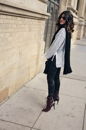 chictalk blogger scarf top jeans sweater grey sweater shoes high heels boots boots ankle boots