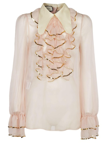 gucci blouse sheer ruffle top