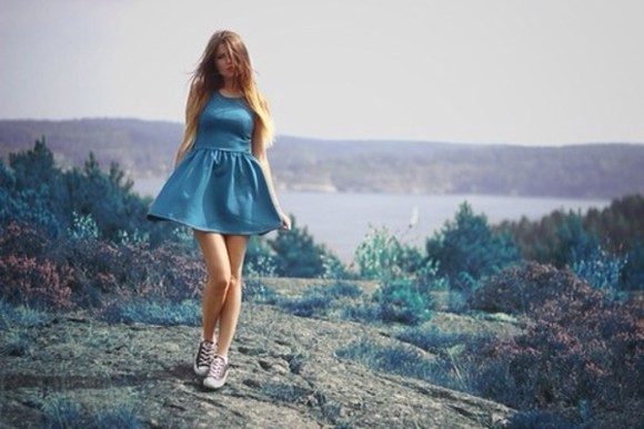 dress skater dress blue skater summer denim fake denim casual glam dressed up