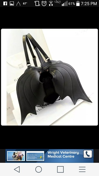 bag black black bag backpack wings bat bag bat wings bat wings bag goth