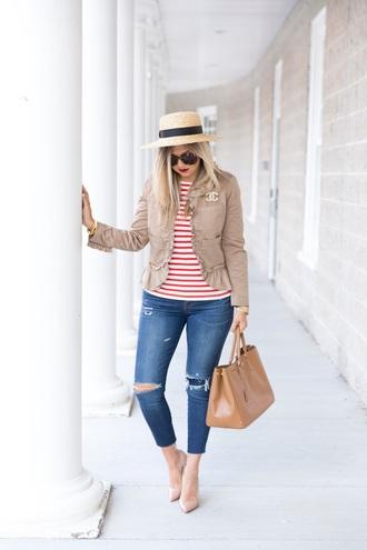 t-shirt denim distressed denim skinny jeans pumps tote bag jacket summer hat blogger blogger style striped t-shirt