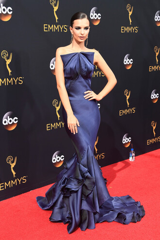 dress gown prom dress strapless dress long prom dress emily ratajkowski model off-duty red carpet dress mermaid prom dress emmys 2016 navy celebrity style celebstyle for less red carpet celebrity dresses