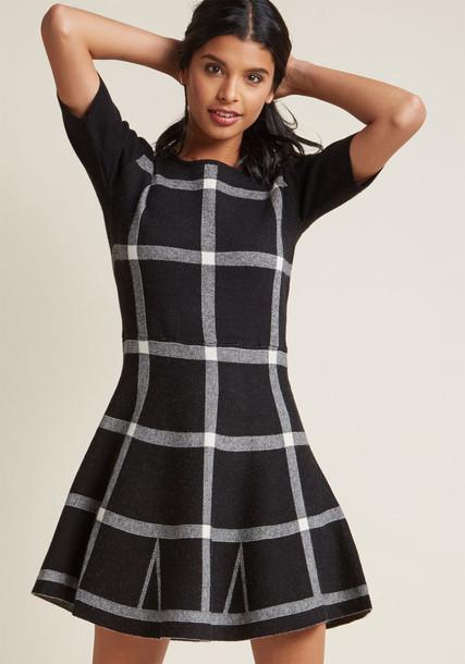182592 dress sweater dress warm white black knit