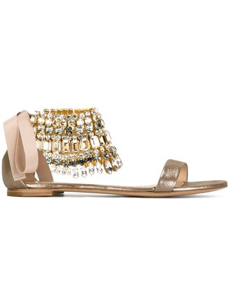 ankle strap beaded sandals metallic shoes