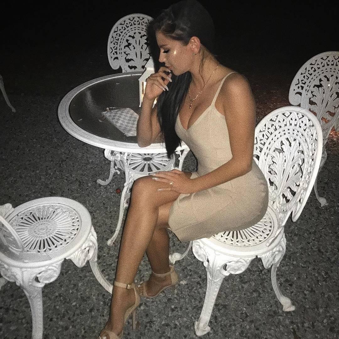 Side Slit Bandage Dress Nude