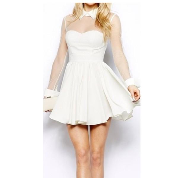 white dress long sleeve dress sheer sleeve mesh sleeves mini dress skater dress dress collared dress collar white collar collared dress see through cute dress cute white dress