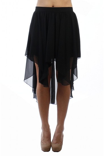 LoveMelrose.com From Harry & Molly | HI-LOW SKIRT BLACK