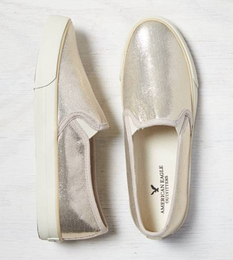 AEO Shimmery Slip On Sneaker, Gold | American Eagle Outfitters