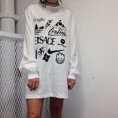 oversized sweater,print,soft ghetto,cyber ghetto,shirt,long sleeves