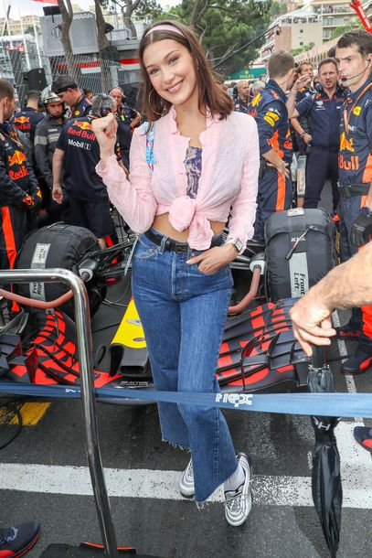 blouse shirt top bella hadid model off-duty spring outfits jeans denim sneakers celebrity