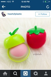 make-up,lip balm,fruits