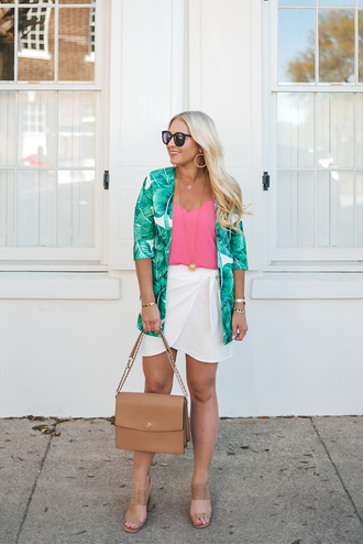 cortinsession blogger jacket dress tank top skirt bag jewels shoes sunglasses spring outfits wrap skirt mules pink top