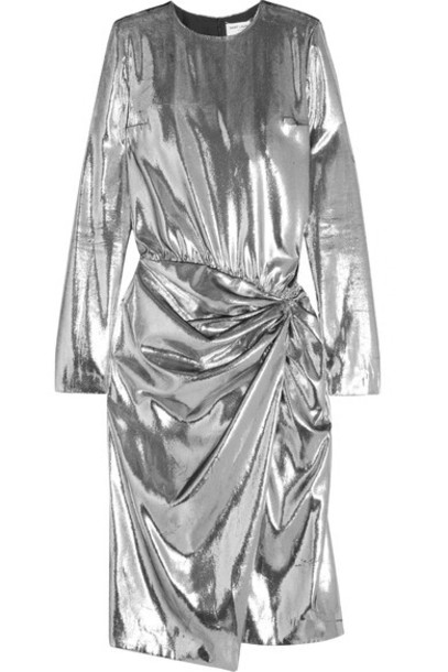 Saint Laurent dress midi dress metallic midi silver velvet