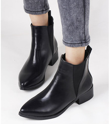 Shop Celeb style patchwork black leather boots low heel ankle